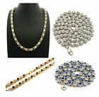 """NEW ICED OUT 6mm/22"""" ACRYLIC COLOR STONE CHAIN HIP HOP NECKLACE - RC2476"""