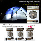 2-in-1 Use Rechargeable Camping Fan Light Solar Panel Flashlight Lantern Outdoor