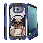 For Samsung Galaxy S8 Plus G955 (2017) Clip Stand Blue Case Cow Licking Nose
