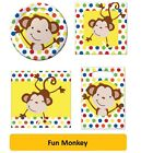 FUN MONKEY Birthday Party Range - Tableware & Decorations {Creative} Animal/Dots