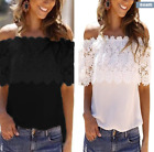 Womens Off Shoulder ChiffonT Shirt Ladies Casual Summer Lace Floral Blouse Tops