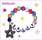 BABY REBORN DOLL BRACELET BEADS PERSONALIZED NAME STRETCH PINK RED CLEAR BLUE