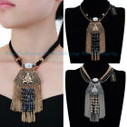 Vintage Jewelry Ethnic Silver Gold Chain Tassel Pendant Statement Necklace New