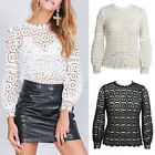 Women's Spring Hollow Floral Crochet Lace Balloon Sleeve Blouse T-Shirt Calm