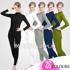 Unisex Lycra Spandex Unitard Mock Neck Long Sleeves Footless Elastane Bodysuit
