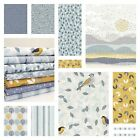 BIRDSONG by DASHWOOD - YELLOW & GREY MODERN COTTON FABRIC bird tree quilting