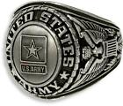 UNITED STATES ARMY SIGNET RING ANTIQUED SILVER (SP) INSIGNIA WITH RHODIUM FINISH