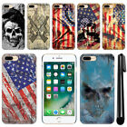 "For Apple iPhone 7 Plus 5.5"" Flag Skull HARD Protector Back Case Cover + Pen"