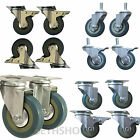 4x Heavy Duty 75mm Rubber PU Swivel Castor Wheels Trolley Furniture Caster Brake