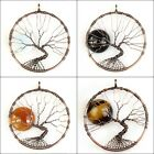 Natural Red Agate Black Onyx Tigers Eye Round Sun Tree of Life Copper Pendant