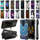 For LG K8V VS500 Hybrid Dual Layer Kickstand Protective Case Phone Cover + Pen