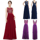 Women Chiffon Bridesmaid Evening Party Prom Ball Gown Maxi Lace Cocktail Dress W
