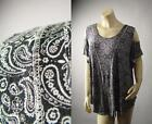 Bandana Paisley Henna Tattoo Print Open Cold Off Shoulder Top 227 mv Shirt S M L