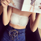 2PCS Womens Strapless Padded Bra Bandeau Tube Top Removable Pads Crop Bra