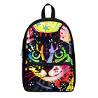 Colorful Cat Lovers Canvas Casual Backpack Boy Girl School Book Bag Haversack