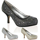 12H WOMENS GLITTER DIAMANTE LADIES WEDDING PARTY MID HEEL COURT SHOES SIZE 3-8