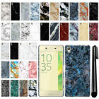 For Sony Xperia X F5121 F5122 Marble Design HARD Back Case Phone Cover + Pen