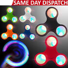 2017 New LED light Fidget Hand Spinner TRI Finger Desk Toy EDC Focus Gyro Tool