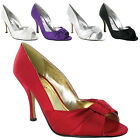 NEW WOMENS SATIN PROM WEDDING BRIDAL SHOES SIZE 3-8
