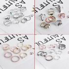 10Pcs/set Retro Star Band Midi Finger/Knuckle Crystal Rings Lady/Women Jewelry