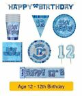 AGE 12 - Happy 12th Birthday BLUE GLITZ - Party Balloons, Banners & Decorations