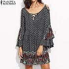 Women Flouncing Bell Sleeve Ethnic Floral Print Party Lace Up Short Mini Dress