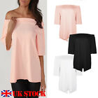 UK Womens Off The Shoulder Casual Blouse Ladies T Shirt Tops Short Sleeve Summer