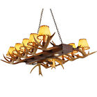 New Faux Resin Antler Parchment Shade Island 12-Light Linear Chandelier Light