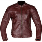 Spada Redux Leather Motorcycle Jacket Retro Classic Red Burgundy *Various Sizes*
