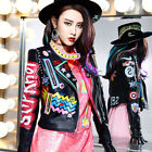 Women Fashion Multicolor Punk Leather Motorcycle Jacket Graffiti Street New New