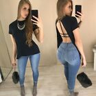 New Fashion Women Casual O-Neck Short Sleeve Solid Back Split Pullover Sexy B20E