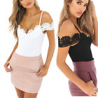Women V-Neck Off-the-shoulder Lace Romper Sleeveless Cami Beachwear Leotard Tops