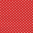 SEA VIEW by MAKOWER BLUE BOATS BEACH HUTS STAR FISH 100% COTTON FABRIC red dots
