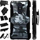 For Alcatel Huawei ZTE Phone Cover Holster Hybrid Case CAMO GRAY LuxGuard