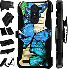 For Alcatel Huawei ZTE Phone Cover Holster Hybrid Case BLUE BUTTERFLY LuxGuard