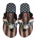 Montana West Women Flip Flops American Flag Pride Star Concho Flat Sandals Navy
