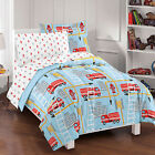 NEW Fire Truck Blue Boys Bedding Set Kids Comforter Sheets фото