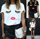 Hot Women Eyelash Lips Print Short Sleeve Casual Tee Loose T-Shirt Tops Blouse