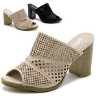 ollio Women Shoes Cutpout Slip On Peep Toe Chunky Heel Mule Sandal