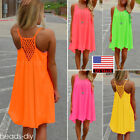 Summer Womens Casual Sleeveless Short Mini Dress Chiffon Beach Party Sundress
