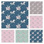 STARLIGHT UNICORN - 100% COTTON FABRIC magical unicorns amidst stars girls