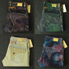 New Mens Jeans Denim Pants with Crystal Studs Flap Pockets Wings Clip size 32-42