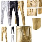Fashion Mens Shining Dance Trousers Stylish  Print Straight Casual Long Pants