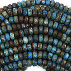"Faceted Brown Blue Turquoise Rondelle Beads 15.5"" Strand 4x6mm 5x8mm 6x10mm"