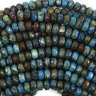"Faceted Brown Blue Turquoise Rondelle Beads Gemstone 15.5"" Strand 6mm 8mm 10mm"