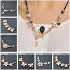 Womens Fashion Flower Cat's Eye Gems Crystal Pendant Cord Chain Chunky Necklace