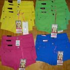 New Free Style Revolution Denim Shorts Size 6 7 10 12 Pink Blue Green Yellow NWT