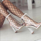 Open Toe Block Chunky Clear Heel Ankle Transparent Bootie Women Boots Shoes NEW
