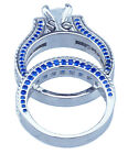 7.75Ct Princess Cut Clear & Sapphire Blue CZ Engagement Wedding Ring Set