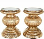 Set of 2 Lit Candle Holder Pedestals  Mirror Inserts by Valerie  Mercury Glass